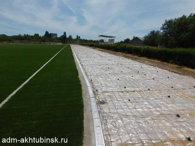 Устройство беговой дорожки на стадионе « Волга»